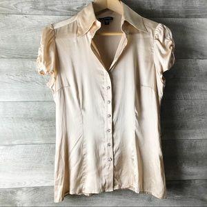 Bebe silk champagne diamond button up blouse